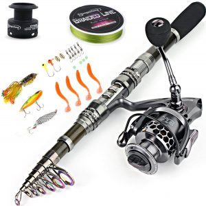 Image of the Fishing Rod Combos with Telescopic Fishing Pole with accessories such as string and baits neat it.