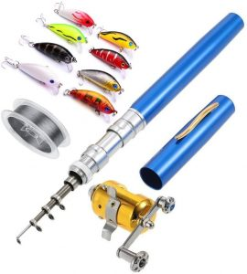 Image of a fishing rod, with blue handle, yellow reel, and accessories above it