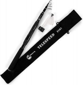 "An image of the Telescopic Fishing Rod with word ""TELESPEED"" written on it, rod in black color."