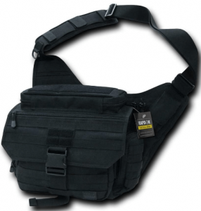 Image of the RAPDOM Tactical Messenger Bag, black, with buckle on front as additional closure.
