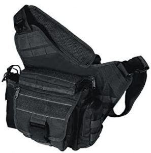 This is an image of a UTG Multi-Functional Tactical Messenger Bag, in black color, on a white background.