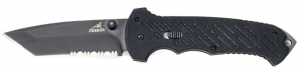 An image of a GERBER Knife, 06 Fast, Tanto with black handle and serrated blade.