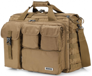 """This is an image of a Lifewit 17"""" Men's Military Laptop Messenger Bag in Tan shade, with four different sizes pockets on front."""
