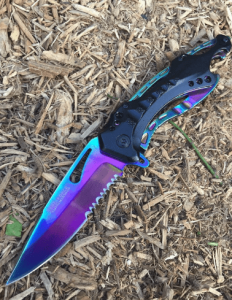 Snake Eye Tactical Spring Assisted Rainbow Blade Tactical Rescue Pocket Hunting Knife
