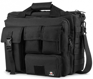 This is an image of the Tactical Briefcase, 15.6 Inch Messenger Bag with four different compartment in front. Color black.