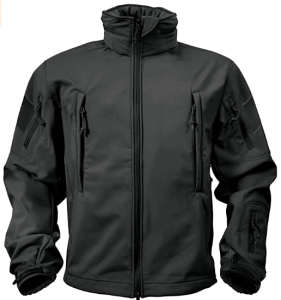 Image of the Rothco Special Ops Soft Shell Jacket in sleek black color with two zipper pockets on front.