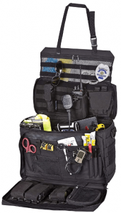 This is an image of the Wingman Patrol Bag in color black, with various tools as accessories inside