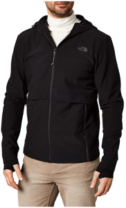 Image of a man wearing The North Face Men's Tactical Flash Jacket in zipper up closure, color black.