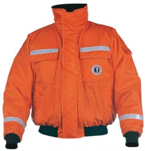 Image of a Mustang Survival Classic Bomber Jacket in neon orange color with two pockets on front.