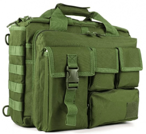 This is an image of the military Laptop Messenger Bag in green shade, with four different sizes pockets on front.