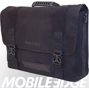 This is an image of the Mobile Edge Laptop Messenger bag with flap & buckle for closure, color black.