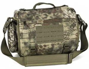 An image of the Direct Action Messenger Tactical Bag, in camouflage color with strap.
