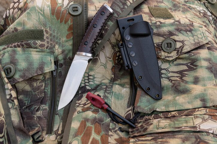 rescue knife with flint. Knife for extreme situations. Flint for a fire.