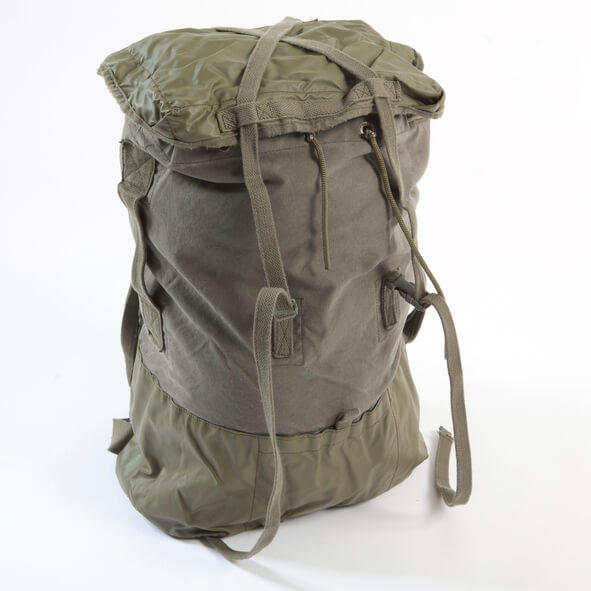 Green army tactical messenger bag with straps on a white background.