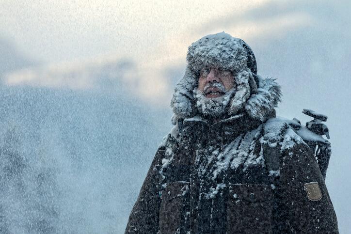 Man wearing a survival jacket