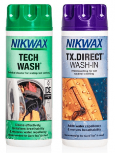 This is the image of Nikwax Hardshell Cleaning and Waterproofing Duo-Pack, one is in green colored cap and the other is violet.