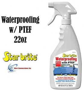 Image containing the Star Brite Waterproofing, white bottle with spray nozzle.