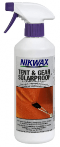 Image contains a Nikwax Tent and Gear Cleaning, Waterproofing product, in white spray bottle.