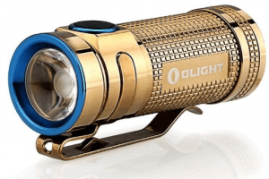 This is a picture of the Olight S Mini Baton Copper-colored flashlight.