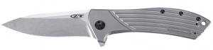 Image of the Zero Tolerance Titanium Flipper Knife in gray shade, on a white background.