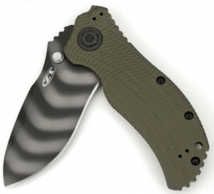 An image containing the Zero Tolerance Combat Folding knife in camo green shade, with blade colors combination of black and dirty white in wavy pattern.