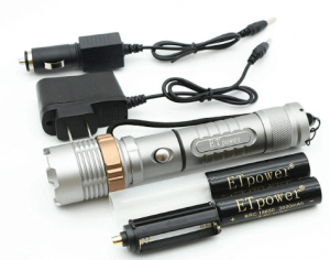 ETpower 1800 LM XM-L T6 LED Zoomable Flashlight Bundle with Two 18650 Battery, Car Charger and AC Charger