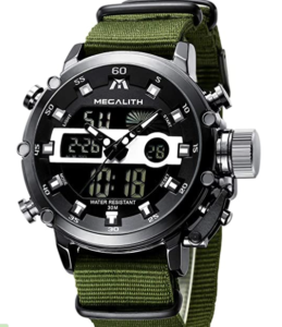 MEGALITH Men's Military Digital Gents Watch Chronograph Waterproof Wrist Watch for Man, in green band color and nylon material