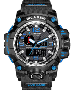 CAOS Digital Sports Watch LED Screen Large Face Military Watch for Men, water-Resistant, shock-resistant, in blue dial color and quartz movement