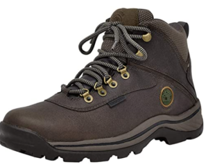 Timberland Men's White Ledge Mid Waterproof Ankle Boot, leather, rubber sole, padded collar, in dark brown color.