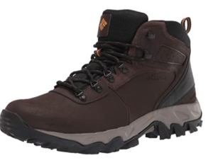 Columbia Men's Newton Ridge Plus II Waterproof Hiking Boot in Cordovan color, leather/suede/mesh material and rubber sole for slip-free movement on rough grounds.