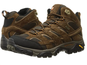 Merrell Men's Moab 2 Mid Waterproof Hiking Boots, 100% Leather suede/mesh material with synthetic sole in Earth color.