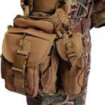 Photo of a man wearing brown drop tactical leg bag