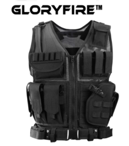 GLORYFIRE Tactical Vest, Adjustable Lightweight Breathable Combat Training Vest, color black with zipper-up lock, made with high-density Oxford fabric and Polyester.