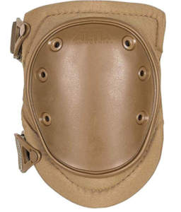 Image of the ALTA knee cap in coyote color, hard cap facing front.