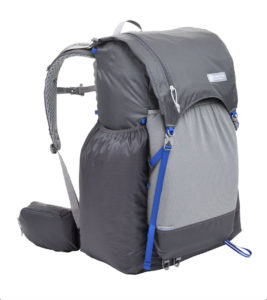 Close-up image of the Gossamer Gear Mariposa backpack, gray color.