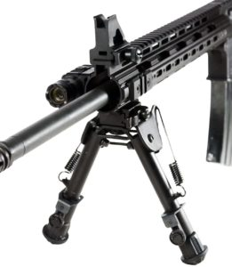 this is an image of a UTG OP Bipod attached to a rifle
