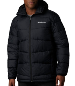 This is an image of an man wearing an insulated jacket in black color, with zipper as closure type, and extended collar.