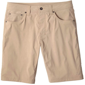 Image of a cream-colored shorts laid-out on a white background.