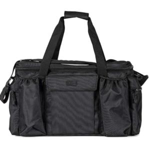 This is an image of a black tactical range bag with shoulder straps extended upwards.