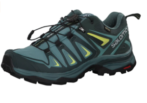 A photo of the Salomon X Ultra 3 GTX shoe for women in blue with yellow details.