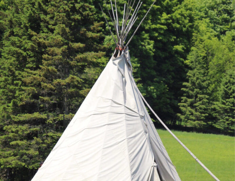 Photo of white canvas teepee in grass field.