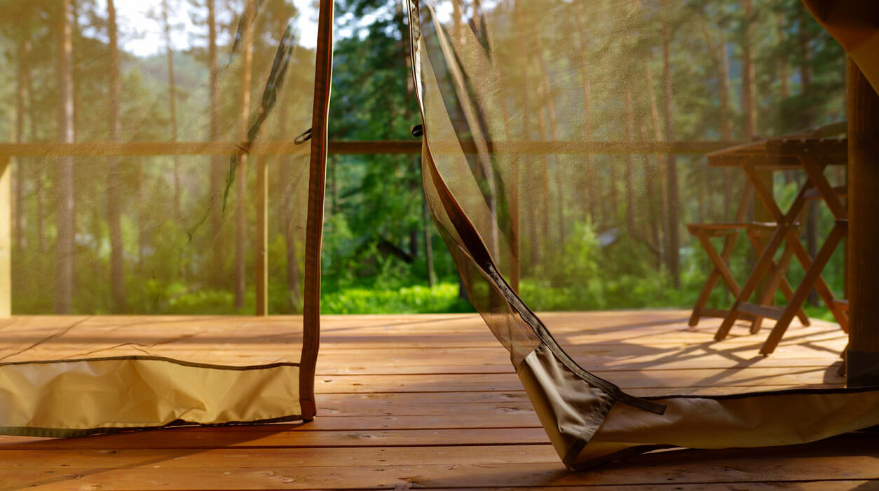 Photo of camping tent curtain in the forest