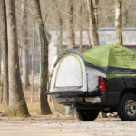 Photo of bed tent at the back of a truck