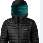 Image of the Rab Microlight Alpine jacket in black color with blue-green hood insides on a white background