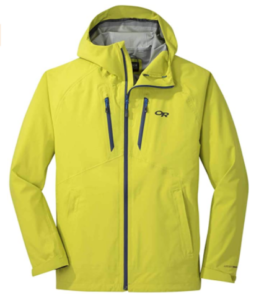 Image of a rain jacket in yellow-green color from Outdoor Research with black zipper as closure.