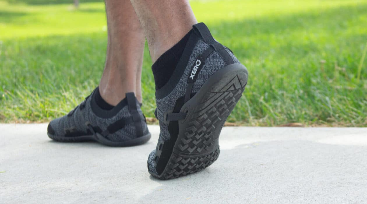 making walkie in a pair of xero shoes, black
