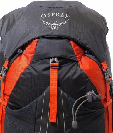 This is a close-up view of the OSprey Exos 58 backpack in black and orange color.