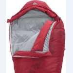Image of the Kelty Cosmic 20 sleeping bag with flipped side, exposing the inner insulated part.
