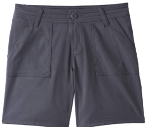 A close-up photo of above the knee hiking shorts for women in gray color.