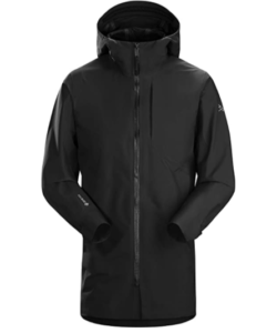 A black rain jacket with extended neck cover in black.